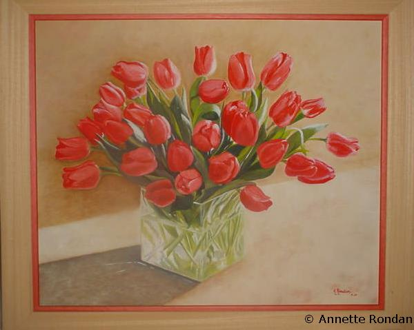 Bouquet de tulipes galerie peintures huiles sur toile for Bouquet de tulipes